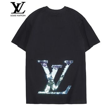 LV Louis Vuitton Summer Popular Women Men Cool Reflective Sequins Print Short Sleeve T-Shirt Pullover Top Black