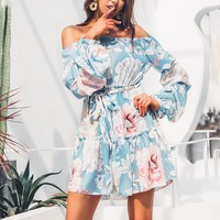 Floral print blue dresses women Elegant off shoulder long sleeve dress Bohemian ruffle mini short dresses ladies