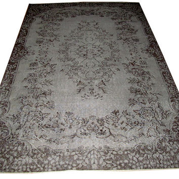 Sale Light Grey Color Overdyed Handmade Rug with Medallion Design  8'5'' x 5'7''  feet