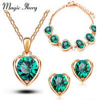 New Arrival 18K Gold & Silver Plated Crystal Heart Shape Fashion Costume Jewelry Sets for Women Necklace Earrings Sets MKL1331