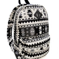 Black & White Tribal Print Backpack
