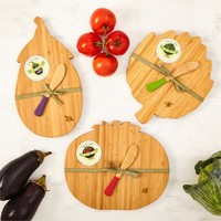 Set of 3 Vegetable Cutting Boards with Matching Spreaders