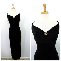 Vintage Black Velvet Dress Sweetheart Bisou Bisou Long Evening Cocktail Prom Party dress