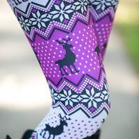 Purple/White Caribou Leggings