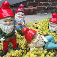1970 Vintage Garden Gnomes Dwarfs Elves hand-painted set of garden gnomes