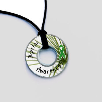 Bipolar Awareness Resin Coated Washer Necklace