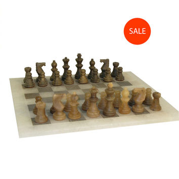 Brown and Ash Alabaster Chess Set