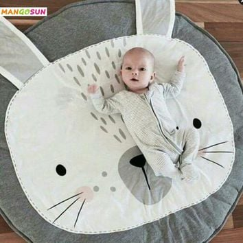 Diameter 95cm Baby Quilted Play Mats Cartoon Rabbit Bear Kids Rugs For Boys Children Developing Crawling Blankets