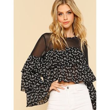 Mesh Shoulder Layered Floral Top