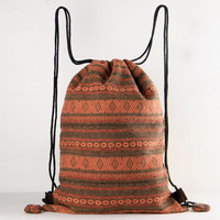 Orange/Earth tone Library Bag Project Bag Native Ethnic Lined Drawstring Backpack