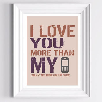 Affordable Art Print I love you more Purple pink by TheWallaroo