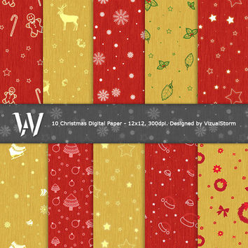Red and Yellow Christmas Digital Paper, printable background images, snow, wreaths, gingerbread, stars, santa hats, trees, Buy 2 Get 1 Free