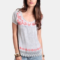 Hard To Tell Embroidered Blouse