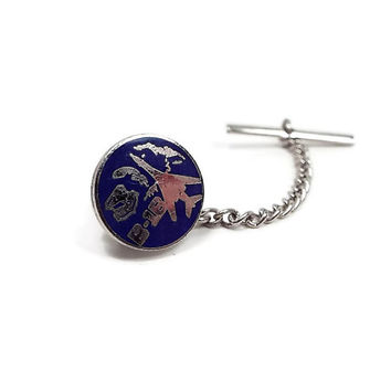 B-1B Vintage Tie Tack Lancer Bomber Enameled Silver Tone Airplane Plane Jet Air Force Retro Military Jewelry