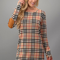 Plaid Dress with Elbow Patches - Beige