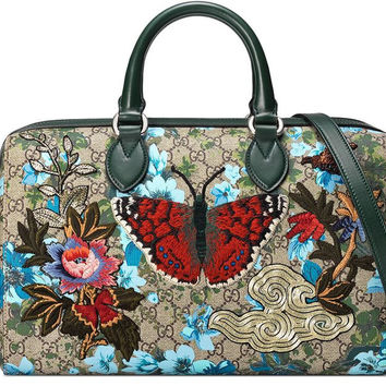 f70e0413039ac6 Gucci Linea A Butterfly Embroidered Boston Bag