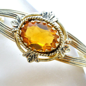 Rhinestone Bracelet, Hinged Bangle, Yellow Amber Stone, Women's Jewellery, Fashion Jewelry, Vintage Gifts, Victorian Revival, Wedding Bridal