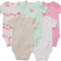 Carter's Baby Girls' 5-Pack S/S Bodysuits - Mint/Pink - 12 Months