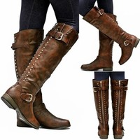 New Womens FL23 Brown Gold Zipper Studded Riding Knee High Boots Sz 5.5 to 10