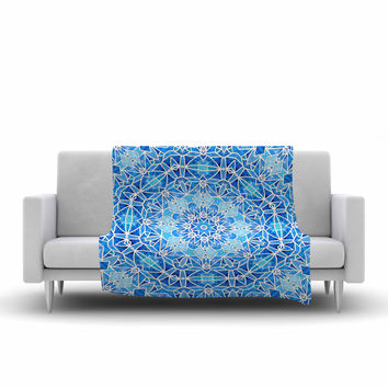 "Art Love Passion ""Star Snowflake"" Blue Aqua Fleece Throw Blanket"