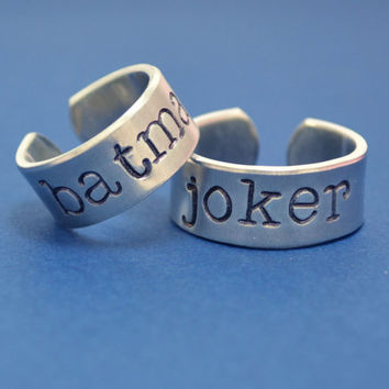 Batman Ring Set - Batman and Joker - Couple - Best Friends