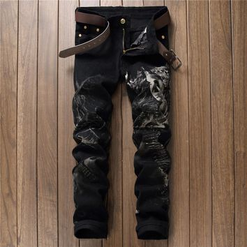 Casual Print Korean Black Pants [10766088259]