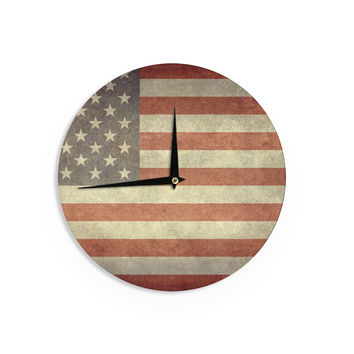 "Bruce Stanfield ""Flag of US Retro"" Rustic Wall Clock"