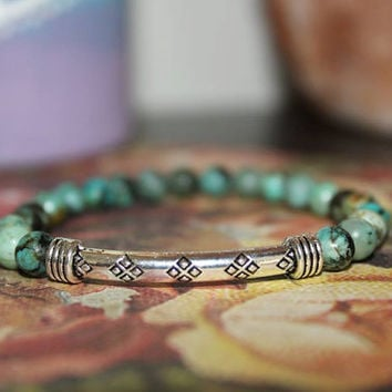 6mm African Turquoise gemstone beaded bracelet, yoga, meditation, healing, chakra, silver tube, accent, crystal, boho, hippie, jewelry
