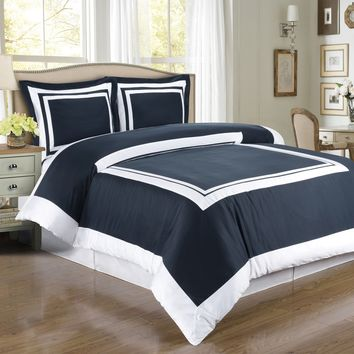 Hotel Navy/White Combed cotton Duvet Cover Set