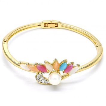 Gold Layered Individual Bangle, with Opal and Pearl, Golden Tone