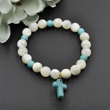 Natural Gemstone Mother of Pearl Bead  Bracelet with Turquoise Cross Charm