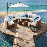 Palmetto All-Weather Wicker Rounded Sectional - Honey