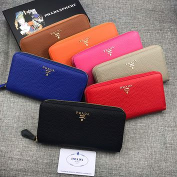 HCXX 19June Prada Lichee Cowhide Card interlayer Money interlayer Zipper bag Documents bag Wallet