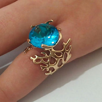 Solid Gold Ring ,Blue Topaz Unique Ring,Gold Blue Topaz Ring,Blue Topaz Gold Ring