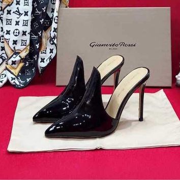 Gianvito Rossi Sandals Shoes 105mm Stiletto Heel Cattle Black Casual Women Slippers