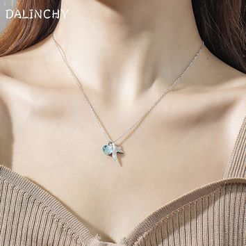 2018 New 925 Sterling Silver Sky BlueTransparent Mermaid Tail Clavicle Chain Simple Elegant Necklaces For Women Fashion Jewelry