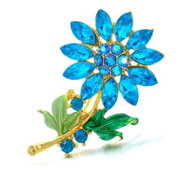Fashion Wedding Plant flower Brooch Pins Rhinestone Crystal brooch Scarf Pin Vintage brooches Women Jewelry