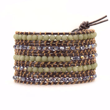 Olive Malaysian Jade and Crystals on Brown