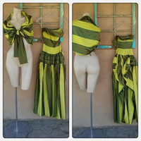 Vintage 1940s Dress Strapless Evening Gown Chartreuse Striped Bustle Xsmall B30 W22 201598