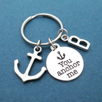 Personalized, Letter, You anchor me, Anchor, Gift, For boyfriend, Keychain, Keyring, Best, Friend, Friendship, Birthday, Gift, Jewelry