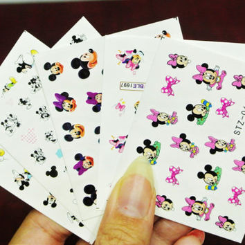 5 sheets Mickey and Minnie Mouse water transfer Nail Decal, Mickey Mouse Nails, Nail Design, Nail Art, Nail Decals, Nail wraps, Nail Sticker