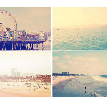 Set of 4 5x7 Fine Art Prints Santa Monica Beach Pier Coastal Beach Photography Travel Los Angeles Home Decor