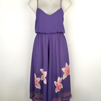 Vintage 1970s purple crepe georgette party dress with orchid print panels and striped handkerchief hem