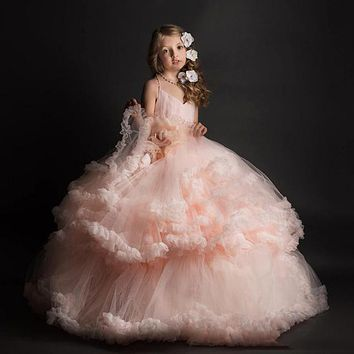 Stunning Pink Sweetheart Cross-Strap Halter Backless Kids Ball Gowns Tiered Ruffles Girls First Communion Dresses 0-12 Year Old