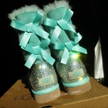 Blinged Out Surf Spray Bailey Bow Uggs w/ Swarovski Crystals- Turquoise Uggs with Cry