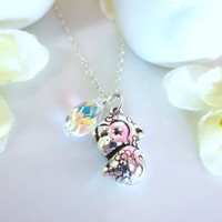 Puffy monkey zodiac charm cherry blossom Swarovski crystal necklace
