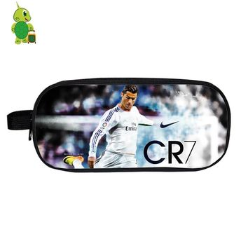 Cristiano Ronaldo Cosmetic Case CR7 Large Capacity Pencil Box Double Layer Storage Bags Purse Kids Boys Girls School Supplies