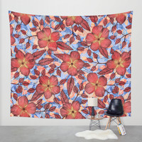 Coral Summer - a hand drawn floral pattern Wall Tapestry by Micklyn