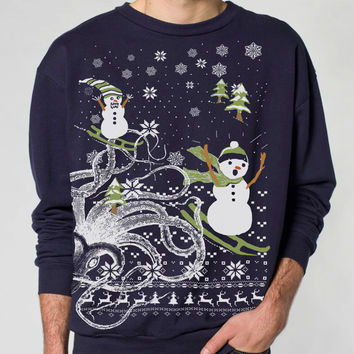 Ugly Christmas sweater -- Octopus Snowman -- pullover  sweatshirt -- s m l xl xxl