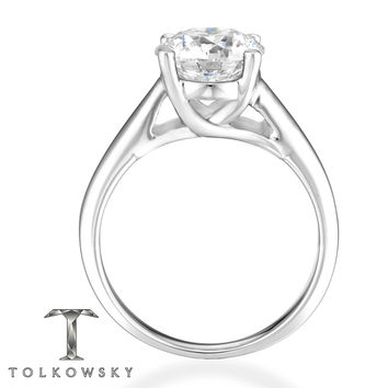 Tolkowsky Diamond 3 Carat Solitaire Ring 14K White Gold